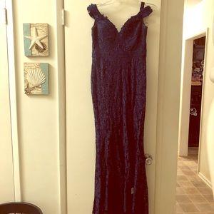 Dresses & Skirts - Prom Girl Navy Lace Formal Dress Off Shoulder